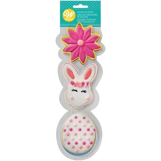 Wilton Cookie Cutter Set Flower Bunny Head Egg 3 Pieces