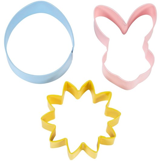 Wilton Cookie Cutter Set Flower Bunny Head Egg 3 Pieces