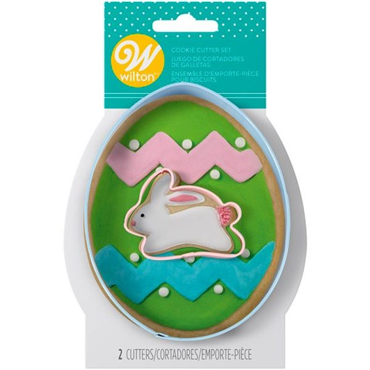 Wilton Cookie Cutter Set Colored Metal Egg With Mini Bunny 2 Pieces