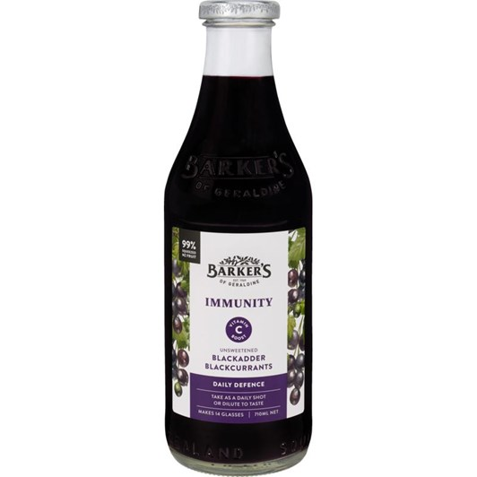 Barkers Immunity NZ Unsweetened Blackcurrant Syrup 710ml