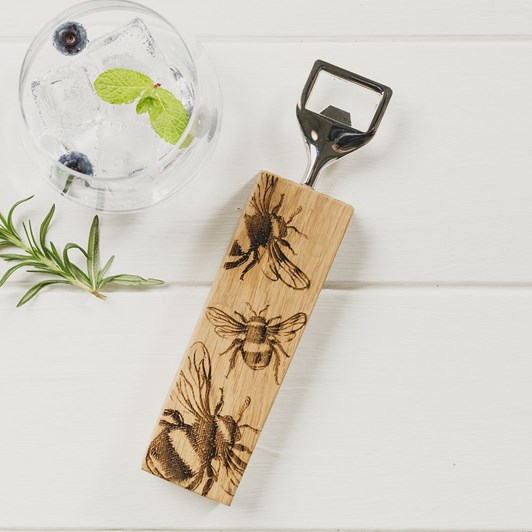 Just Slate Etched Bee Oak Bottle Opener