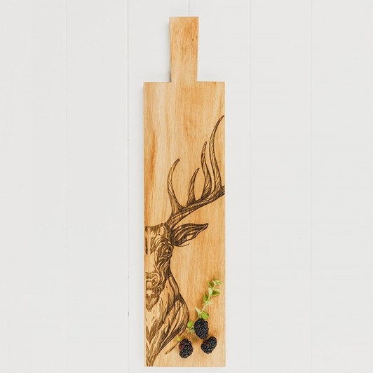 Just Slate Long Scandi Stag Etched Oak Serving Paddle