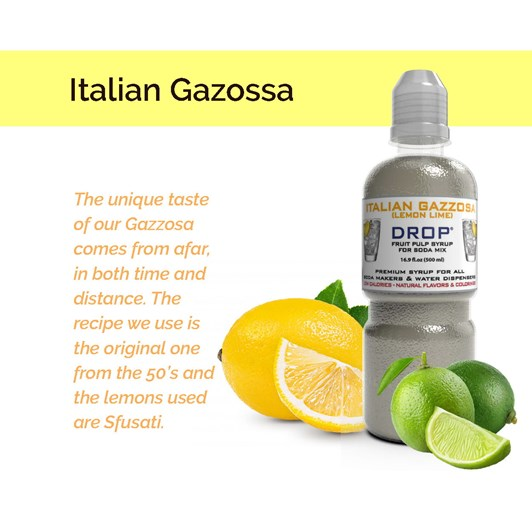 Oh Bubbles Drop Gazzosa Italian Lemon Lime Premium Syrup Mix 500ml