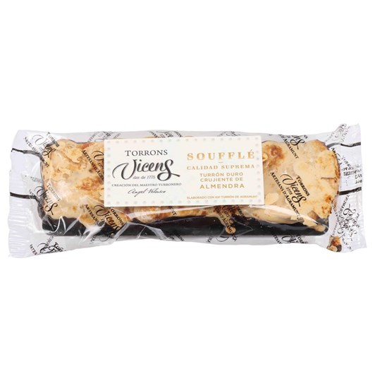 Vicens Brittle Almond Souffle Nougat Bar With Chocolate 80g