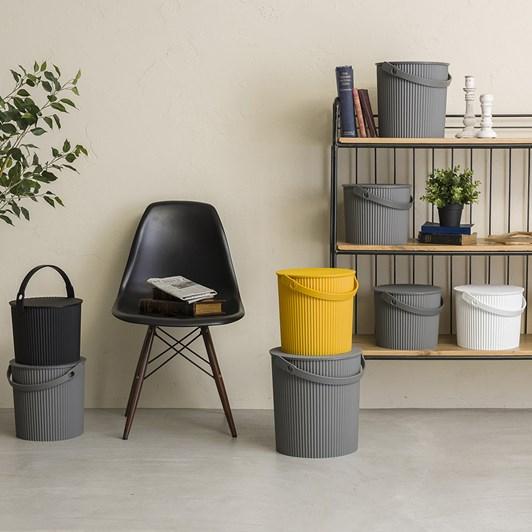 Hachiman Medium Storage Bucket With Lid Grey 8L