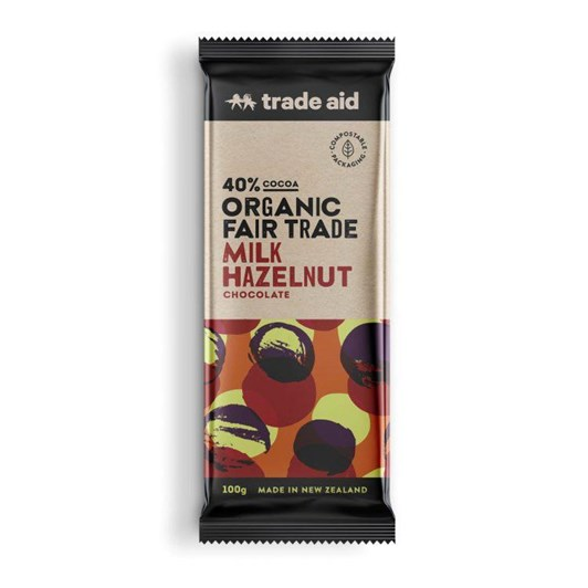 Trade Aid Organic 40% Cocoa Hazelnut Milk Chocolate 100g