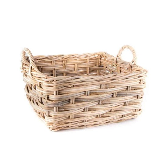 Trade Aid Rectangle Natural Rattan Basket With Handles