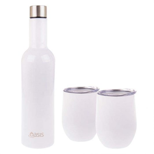 D.Line Oasis 3 Piece S/S Insulated Wine Gift Set White