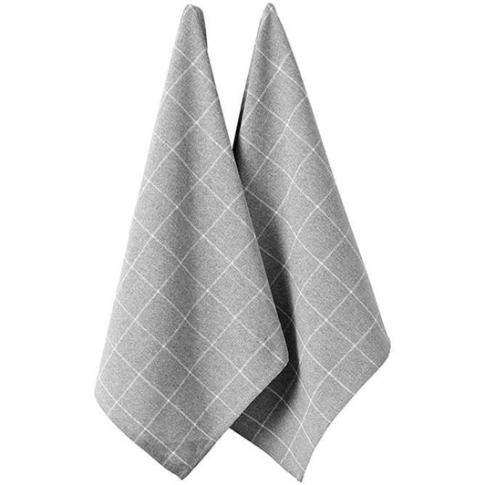 Ladelle Eco Check Grey 2Pk Kitchen Towel