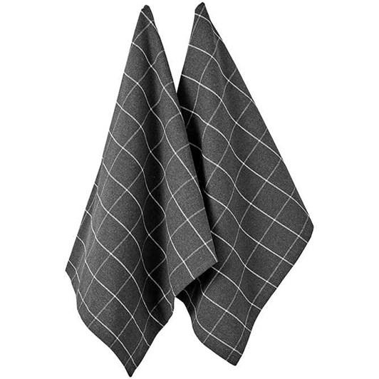 Ladelle Eco Check Charcoal 2Pk Kitchen Towel