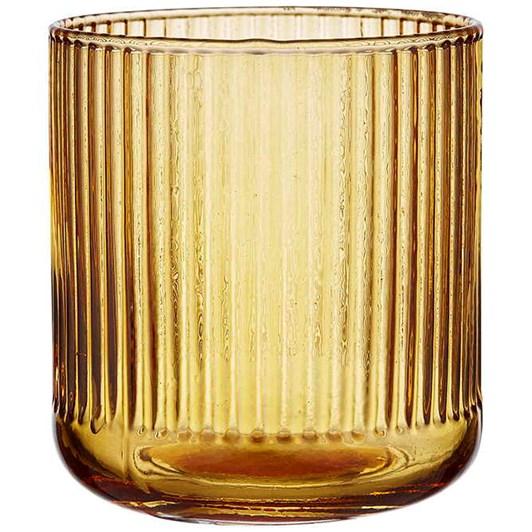 Ladelle Zephyr Ribbed Amber Glass Tumbler