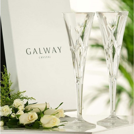 Galway Crystal Mystique Romance Flutes Pair
