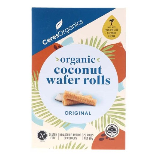 Ceres Organic Coconut Wafer Rolls Original 80g