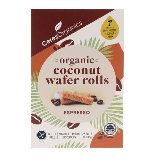 Ceres Organic Coconut Wafer Rolls Espresso - 80gm