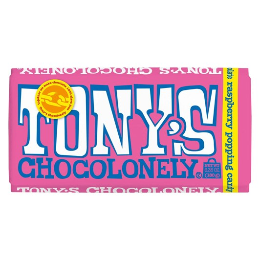 Tony's Chocolonely White Chocolate Raspberry Popping Candy 28% 180g