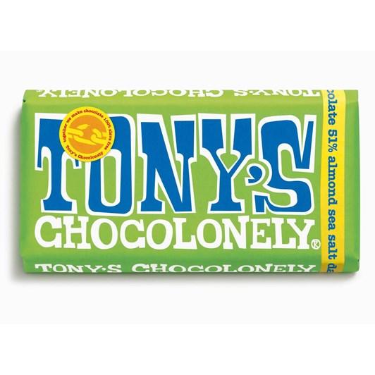 Tony's Chocolonely Dark Chocolate Almond Sea Salt 51% Bar 180g