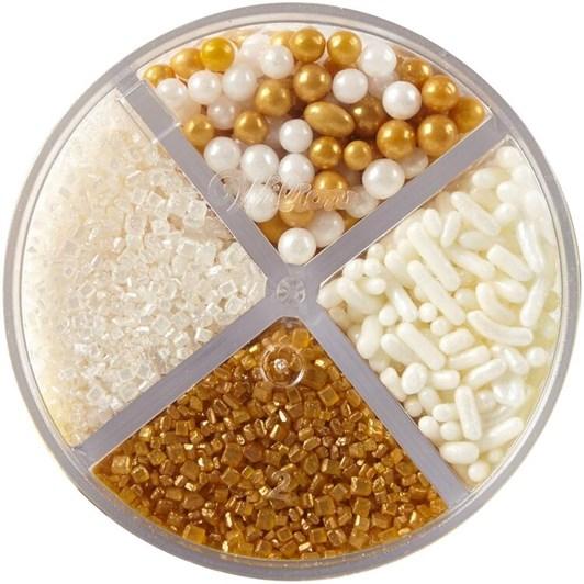 Wilton Gold & White 4 Cell Sprinkles