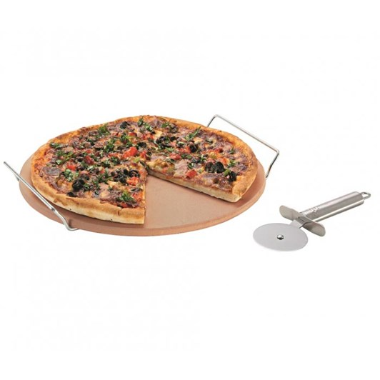 Avanti  Pizza Stone With Rack And Pizza Cutter
