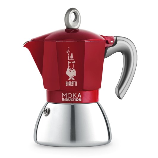 Bialetti Moka 6 Cup Italian Metal Induction Coffee Maker Red