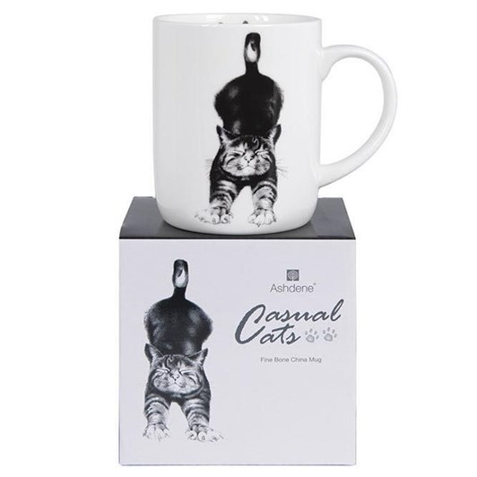 Ashdene Casual Cats Stretching Large Can Mug
