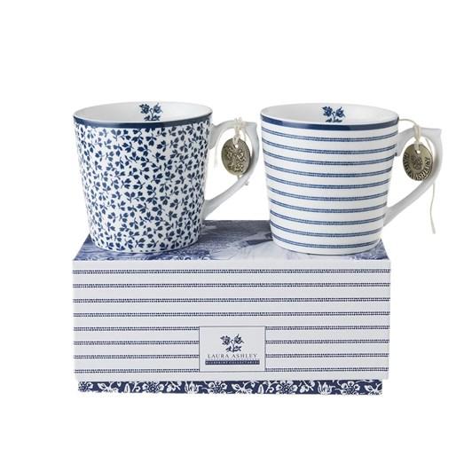 Laura Ashley Set/2 Mini Mugs Candy Stripe & Floris In Giftbox