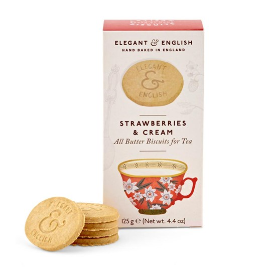 Elegant & English Artisan Biscuits Strawberries And Cream 125g