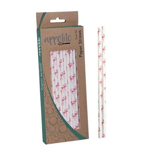 Dline Paper Straws Pack 50 - Flamingo