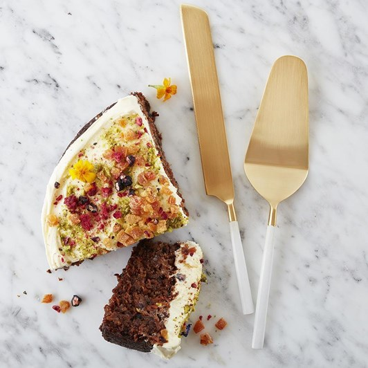 Nel Lusso Bianco Cake And Knife Set 29.5x6cm