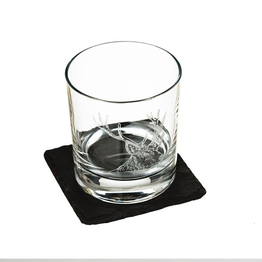Just Slate Stag Engraved Glass Tumbler With Slate Coaster Gift Set