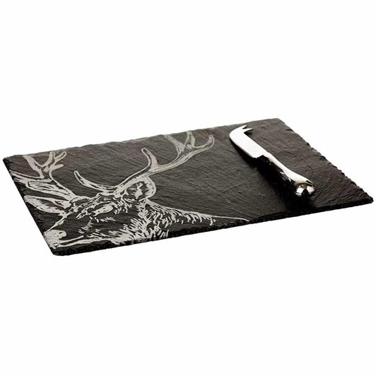 Just Slate Etched Stag Cheese Board & Knife Gift Set