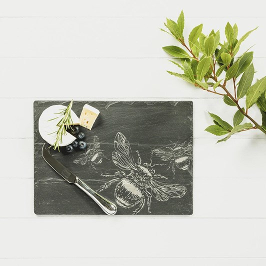 Just Slate Etched Bee Cheese Board & Knife Gift Set