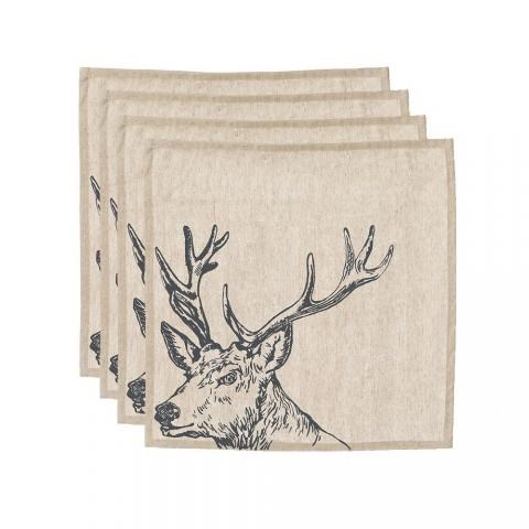 Just Slate Stag Linen Napkins (Set Of 4)