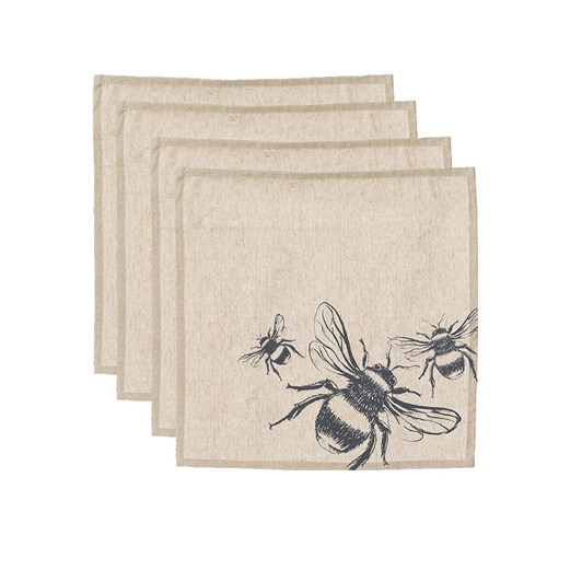 Just Slate Bee Linen Napkins (Set Of 4)