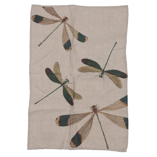 Florence By LR Tea Towel Dragonfly Green
