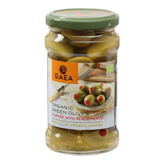 Gaea Organic Green Olives With Real Pimento 295g