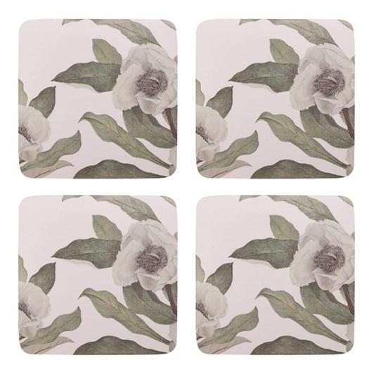 Madras Camellia Green Square Coasters Set Of 4