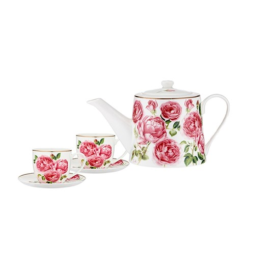 Ashdene Heritage Rose Teapot & 2 Teacup Set