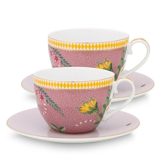 Pip Studio La Majorelle Set Of 2 Cups & Saucers Pink 280ml