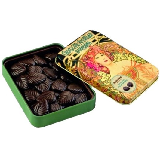 Amatller Chocolate Leaves With Salt In Tin 60g