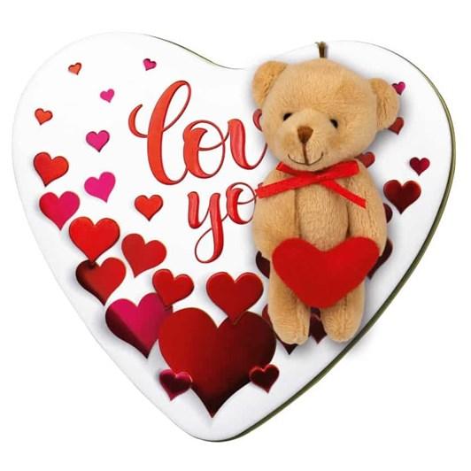 Windel Metal Love Heart Chocolate Box With Bear 97g