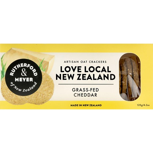 Rutherford & Meyer Love Local NZ Grass Fed Cheddar Crackers 120g