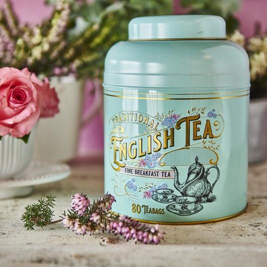 Turquoise Vintage Round Tea Caddy 80 Teabags - English Breakfast