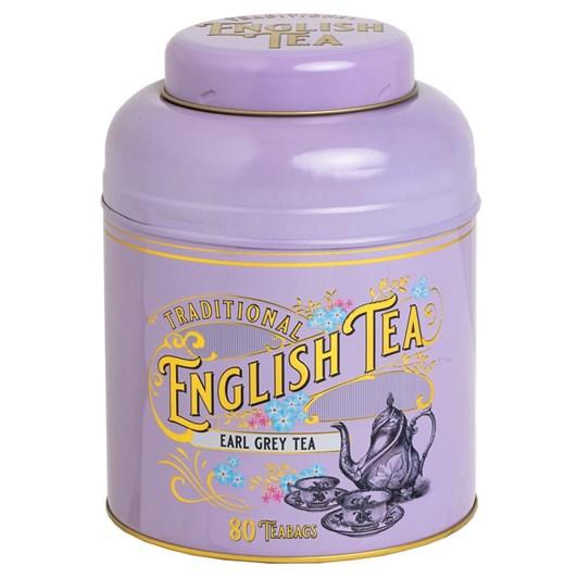Lilac Vintage Round Tea Caddy 80 Teabags - Earl Grey