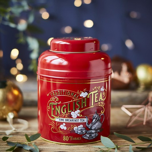 Red & Gold Vintage Tea Caddy With Fine Breakfast Tea 80 Teabags