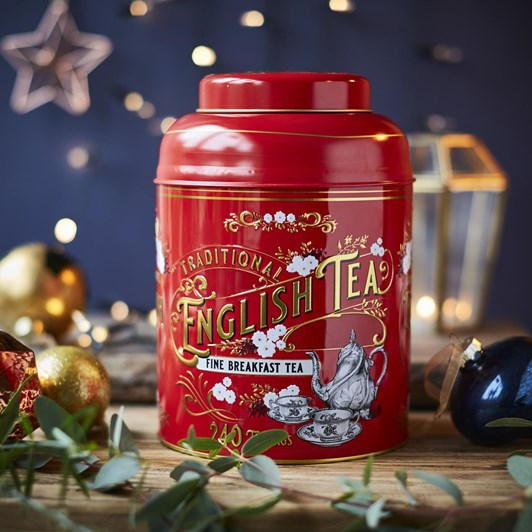 Red & Gold Vintage Tea Caddy With English Breakfast 240 Teabags