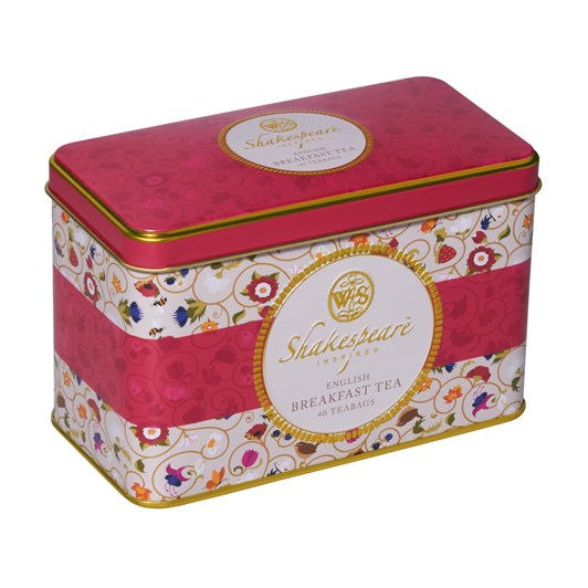 Shakespeare Inspired English Breakfast Tea Caddy With 40 Teabags