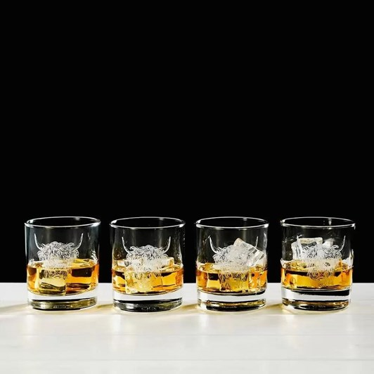 Just Slate Engaved Highland Cow Glass Tumbler Gift Set Of 4