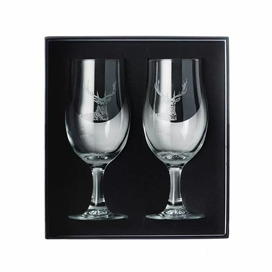 Just Slate Engaved Stag Style Craft Beer Glasses Gift Set Of 2