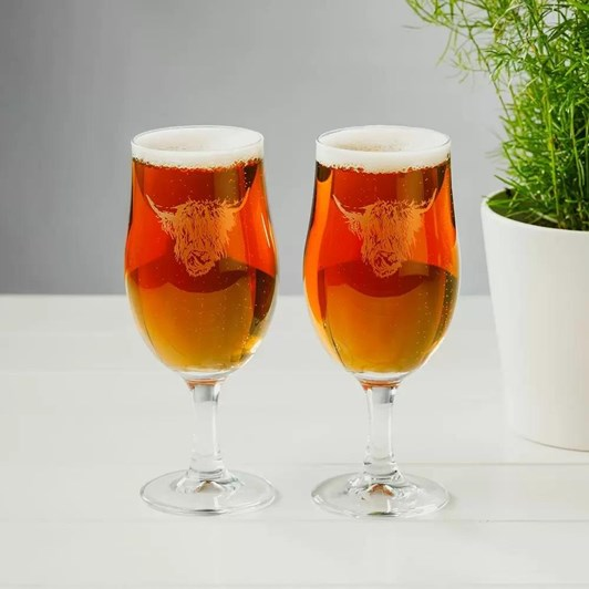 Just Slate Engaved Highland Cow Style Craft Beer Glasses Gift Set Of 2