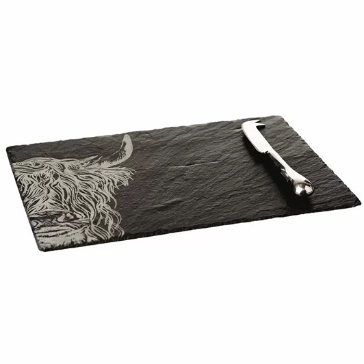Just Slate Engraved Highland Cow Cheese Board & Knife Gift Set